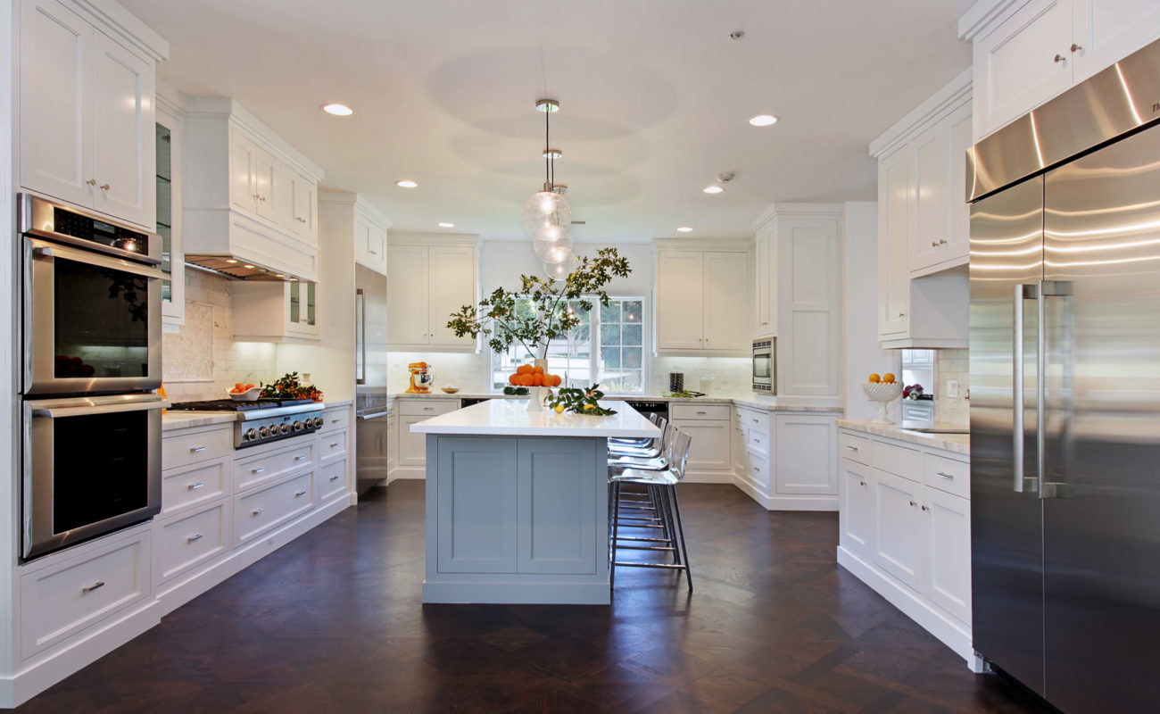 This single story estate was designed for classic luxury living. We used Carrera marble in the master bathroom and kitchen. Polished chrome fixtures were used throughout the house. We designed custom built cabinetry for the gourmet kitchen, butler's pantry and bar. We remained true to the classic instincts of this house and opted for timeless […]