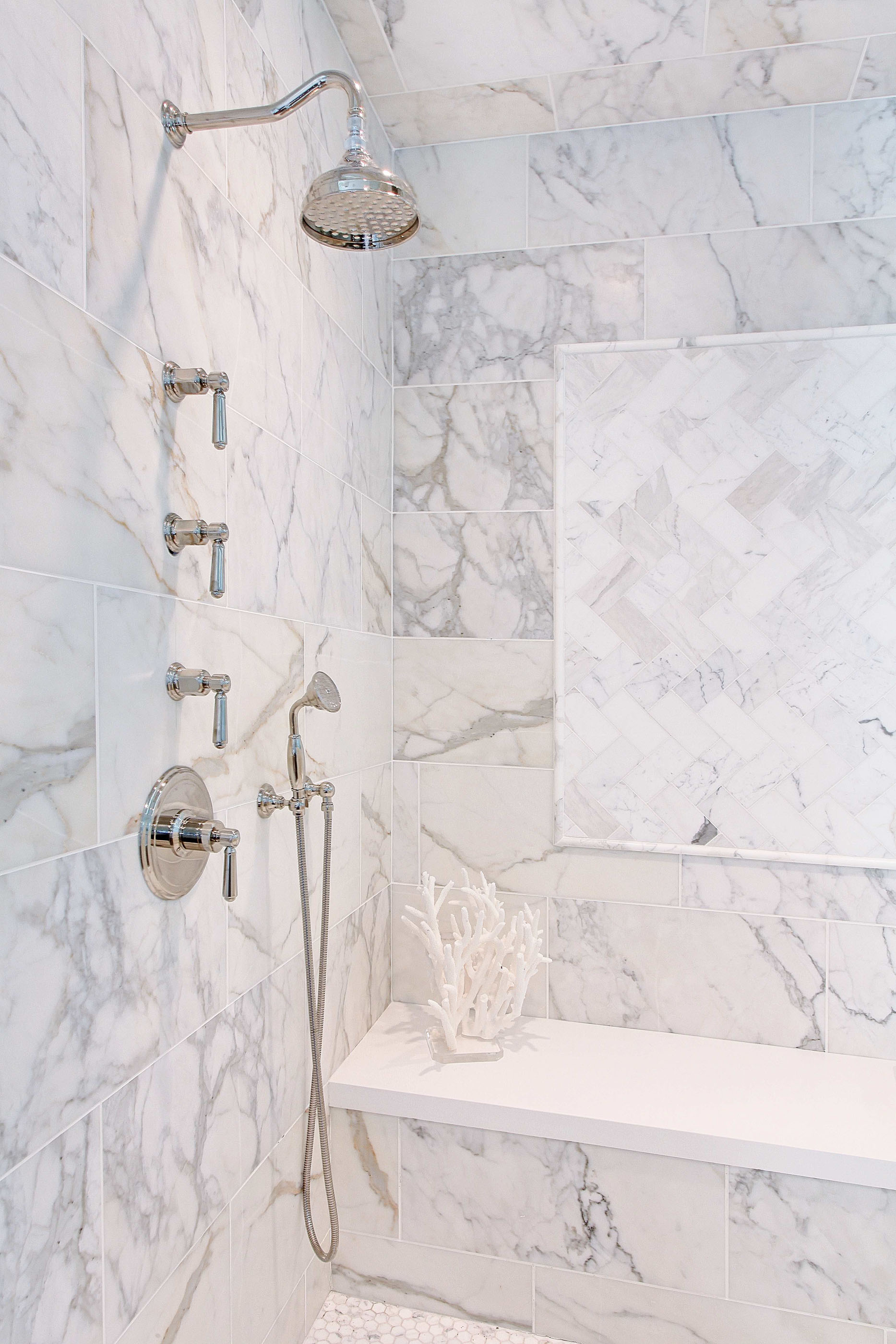 White Marble Shower Melissa Morgan Design