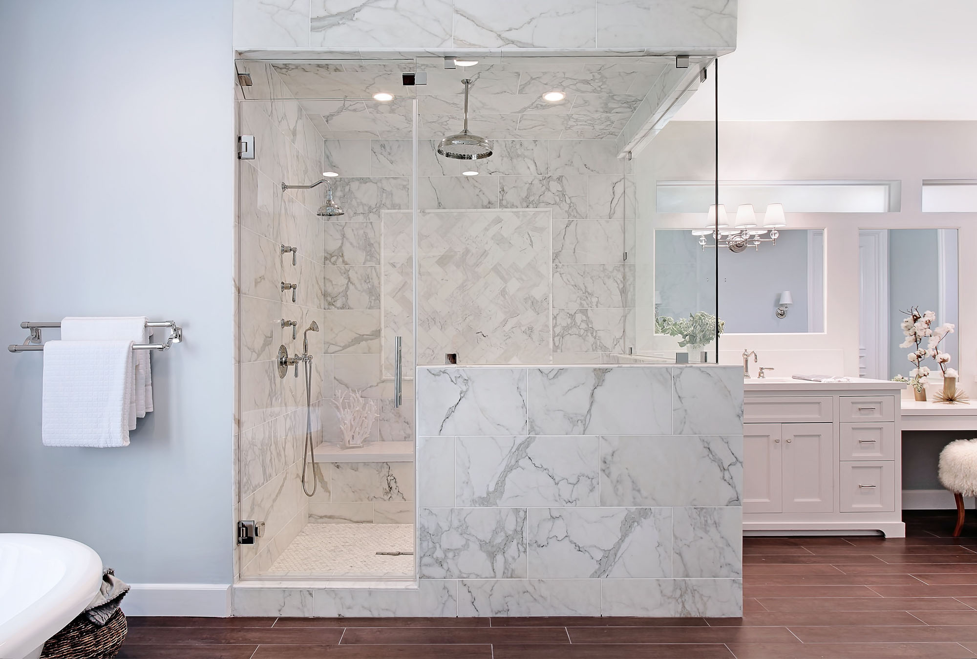 White Marble Bathroom Melissa Morgan Design