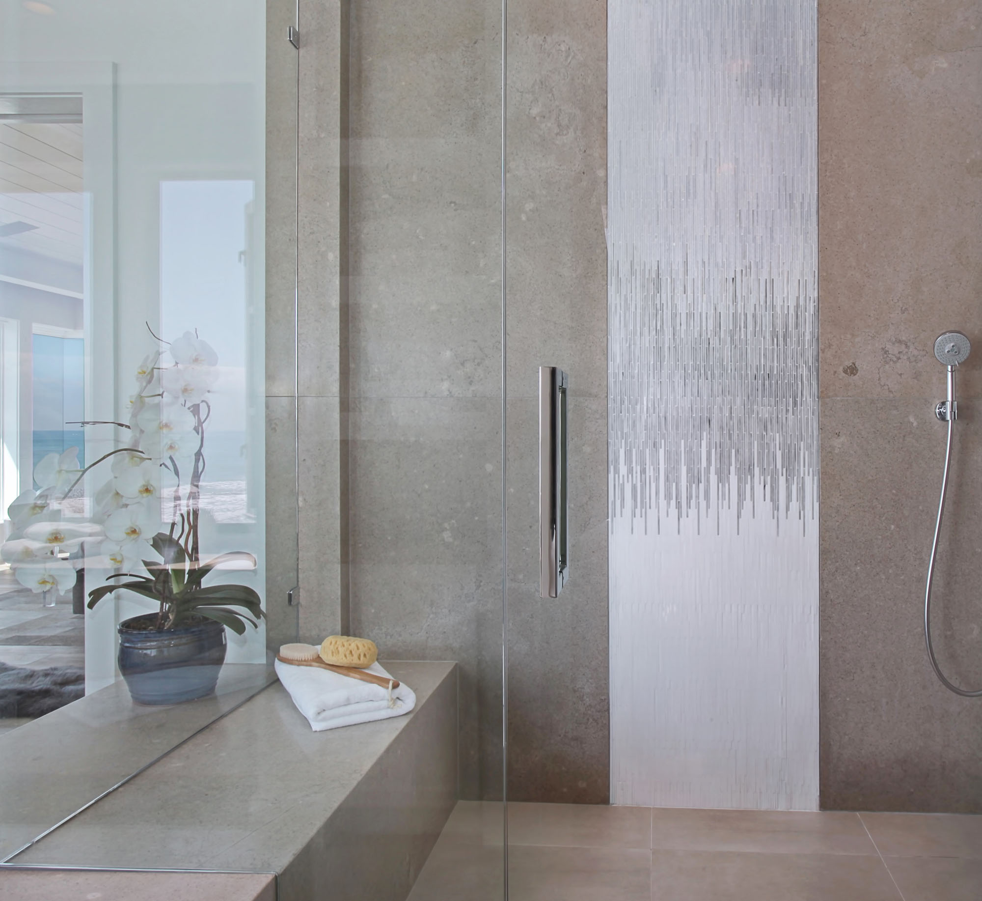 Contemporary Stone Shower Melissa Morgan Design 1