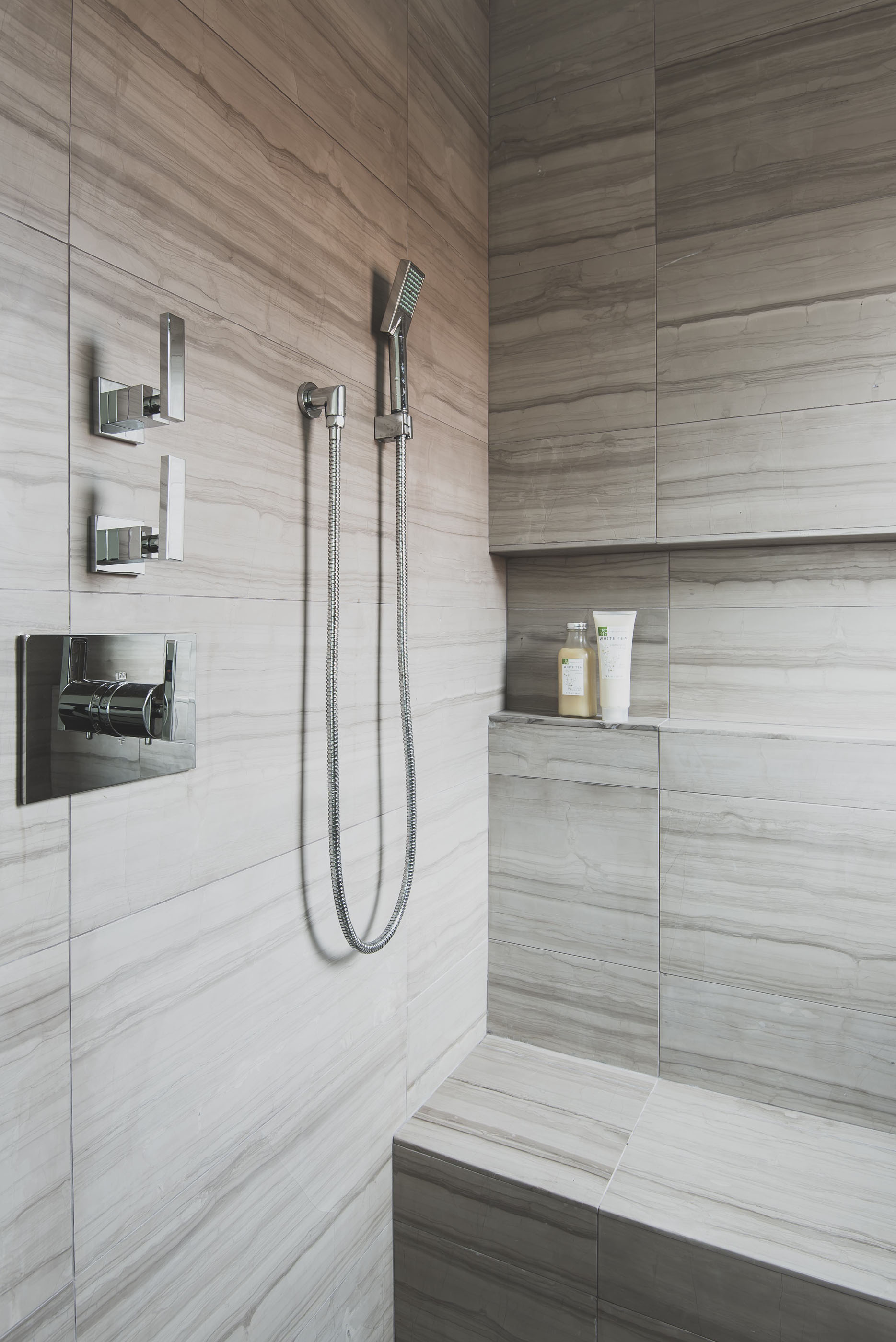 Silver Travertine Shower Melissa Morgan Design
