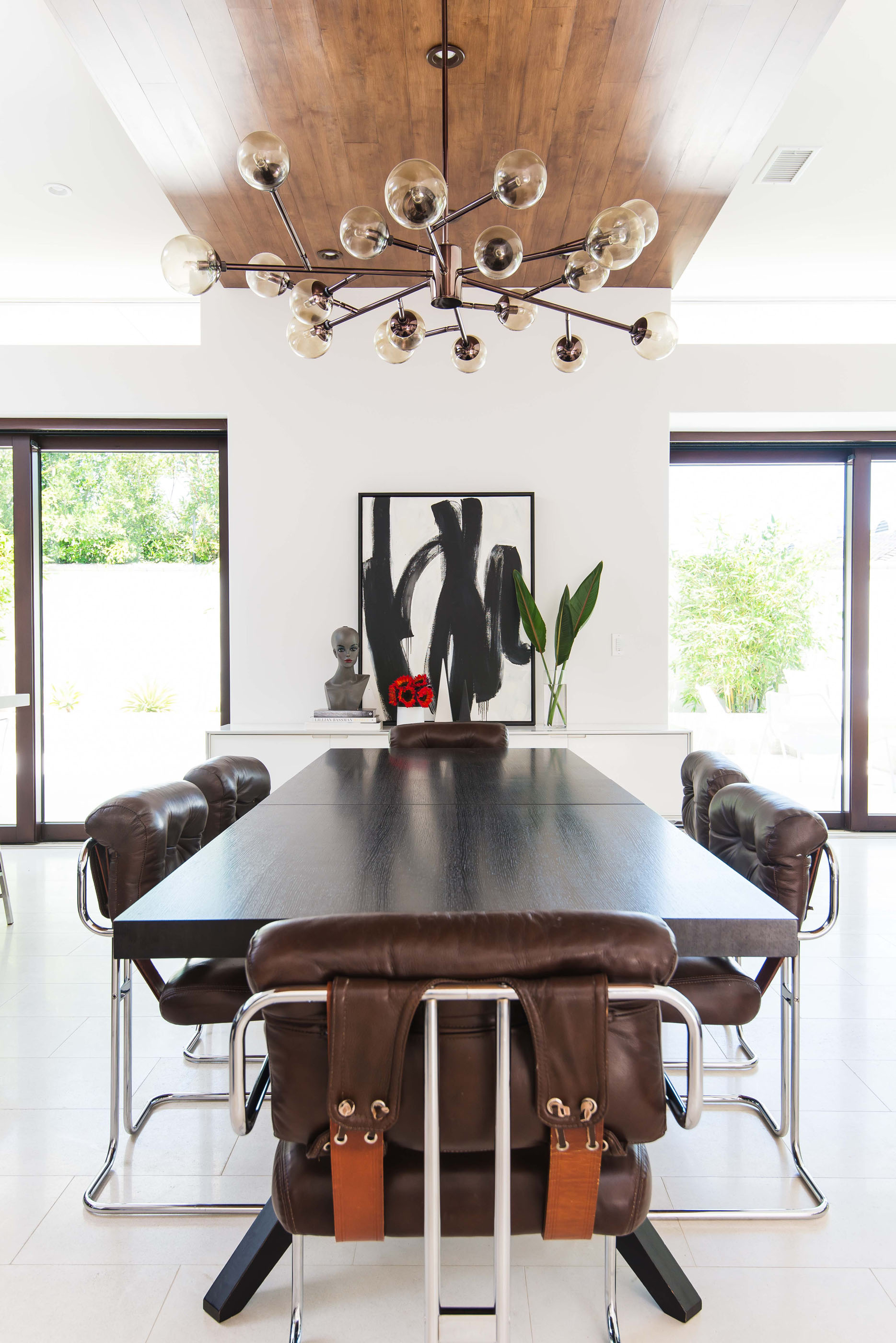 Contemporary Wood Dining Table Leather Chrome Melissa Morgan Design
