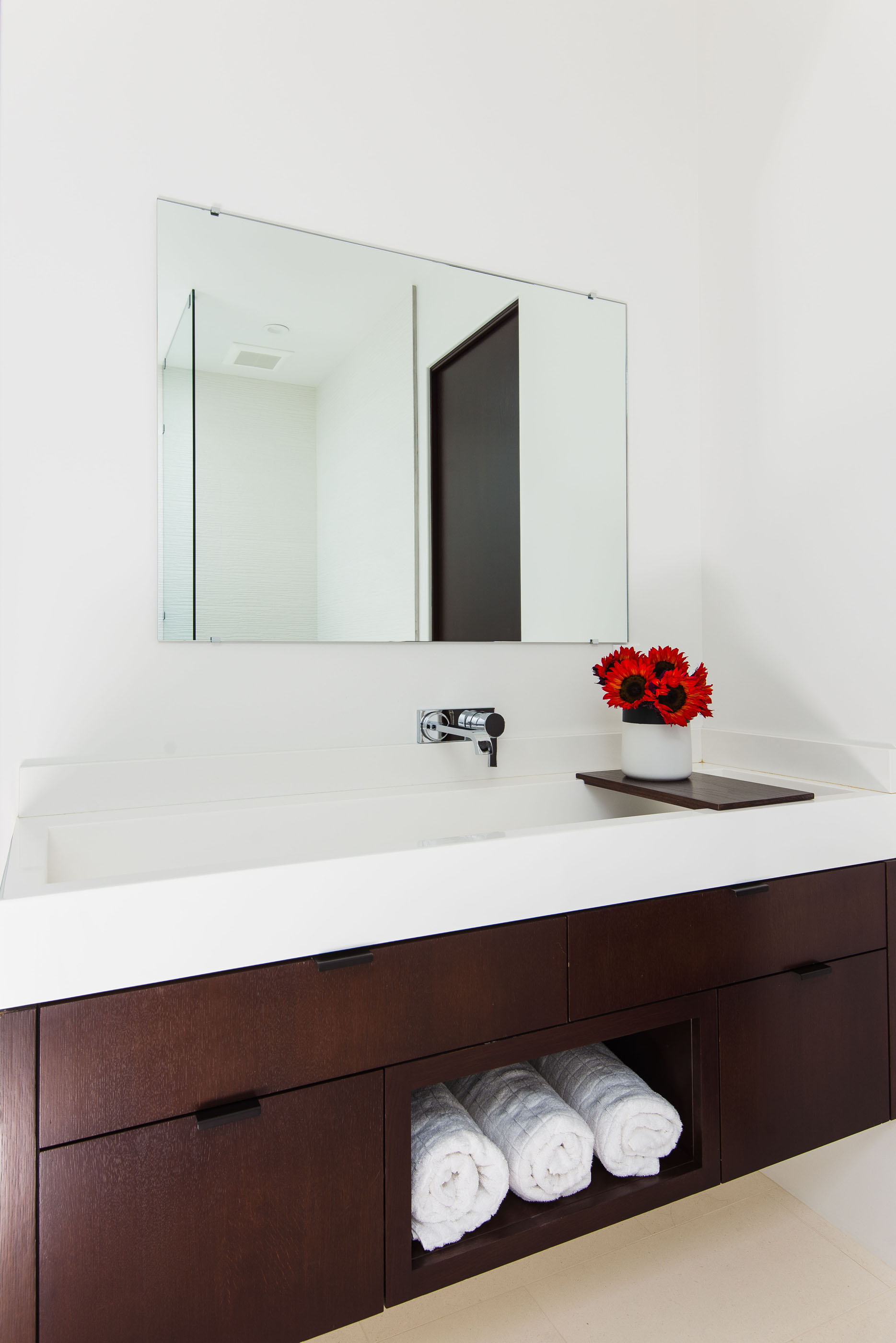 Contemporary Trough Sink Chrome Wood Towel Melissa Morgan Design