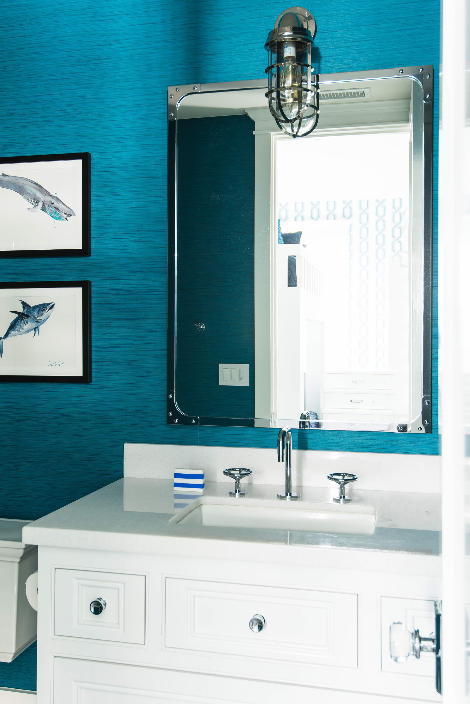 Blue Walpaper Bathroom Melissa Morgan Design 1