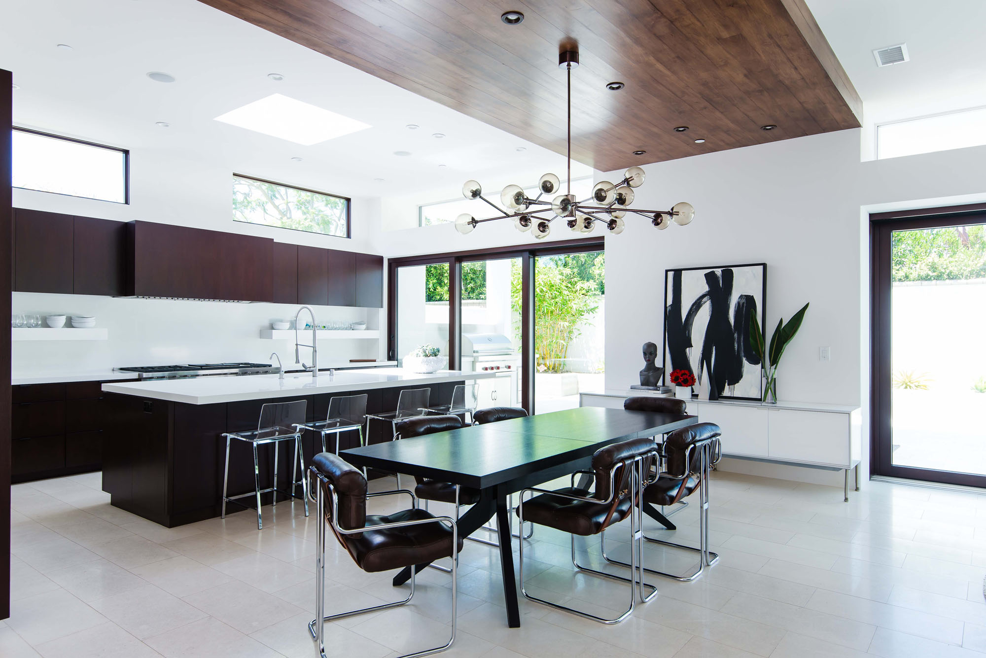 Contemporary Dining Kitchen Limestone Open Floor Plan Melissa Morgan Design
