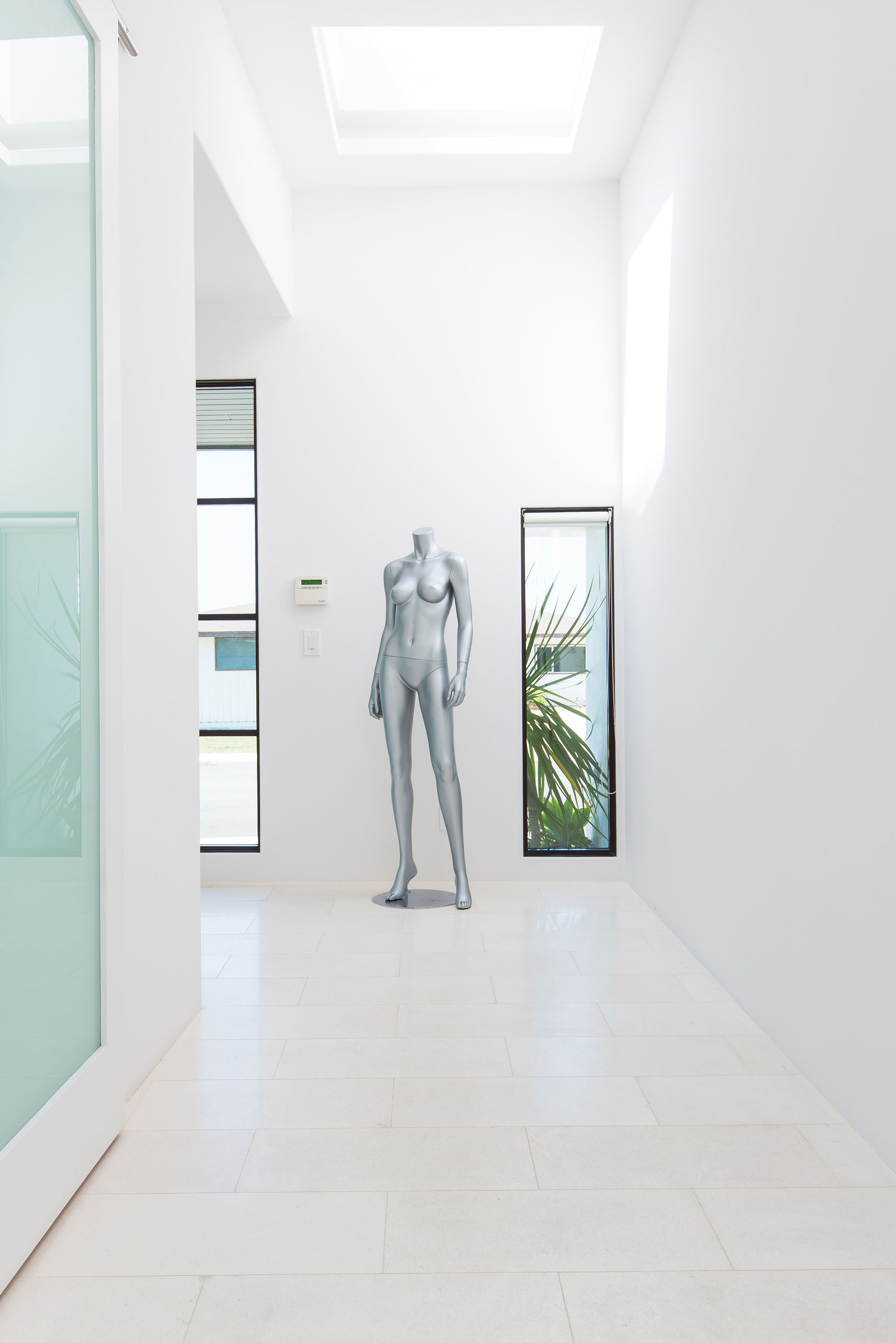 Contemporary Hallway Manikin Glass Barn Door Melissa Morgan Design