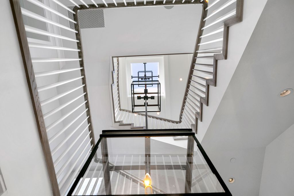 Spiral Staircase Wood Flooring White Light Melissa Morgan Design