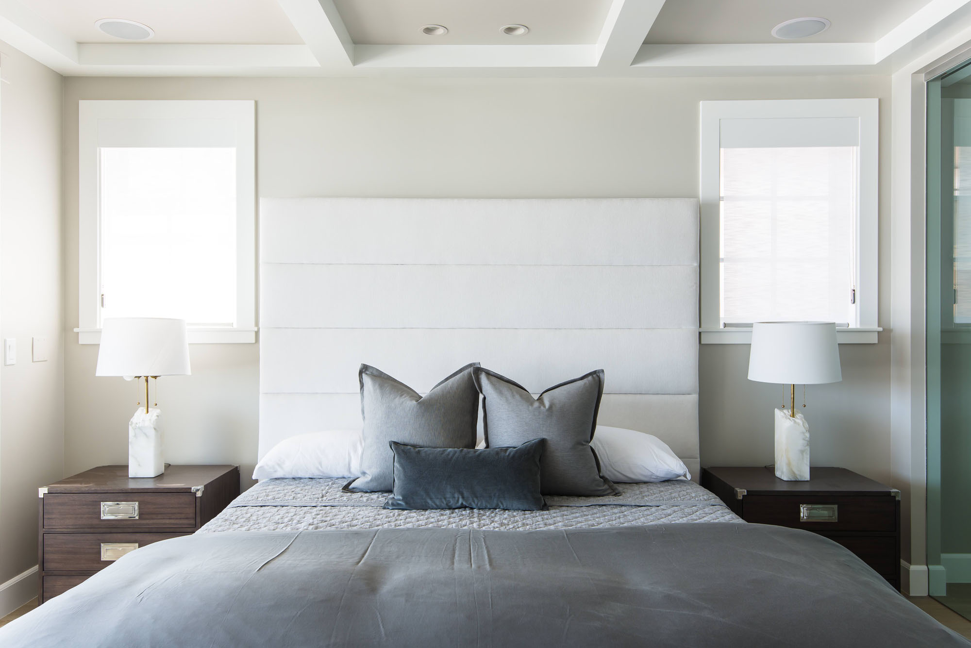 Bedroom Horizontal Channel Headboard Gray White Beach House Melissa Morgan Design