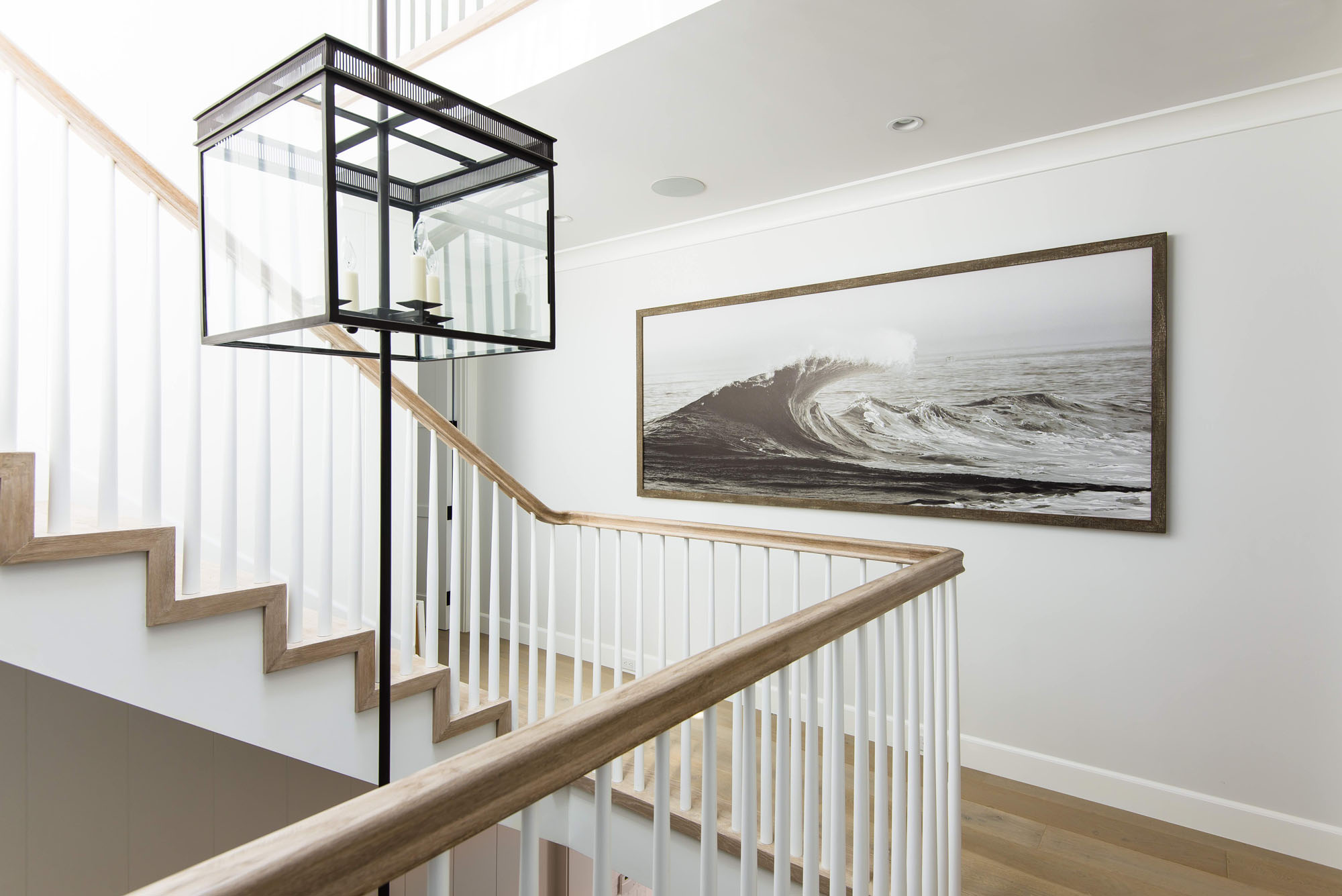 Beach House Wooden Floors Wave Art Staircase Melissa Morgan Design