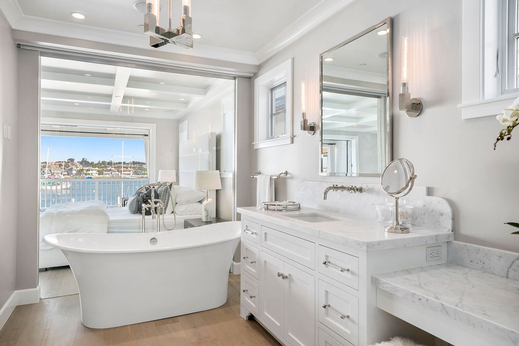 Bathroom View Beach House Free Standing Tub White Melissa Morgan Design