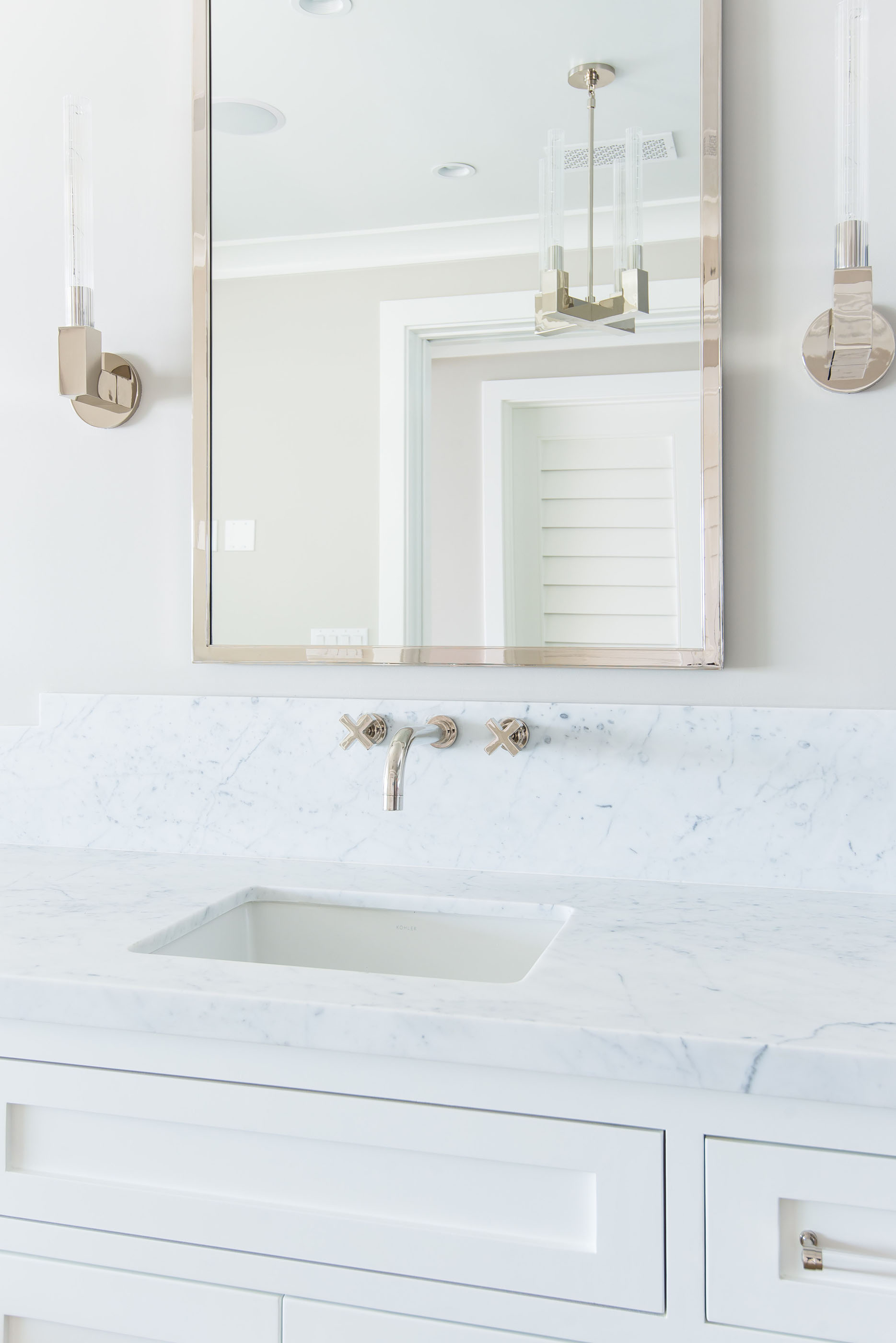 Bathroom Marble Restoration Hardware Modern Chrome Mirror Melissa Morgan Design