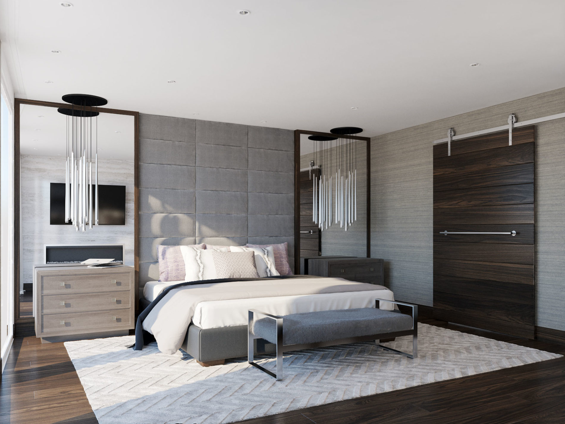 In this bedroom rendering we focused on using warm tones and natural elements to create a relaxed atmosphere. We created a custom floor to ceiling channel headboard as the focal point with built in framed oversized mirrors and ceiling mounted polished chrome pendant lights.  The selections include: Silver travertine slab, Panget white oak flooring, Restoration Hardware pendants and Bernhardt Furniture nightstands.